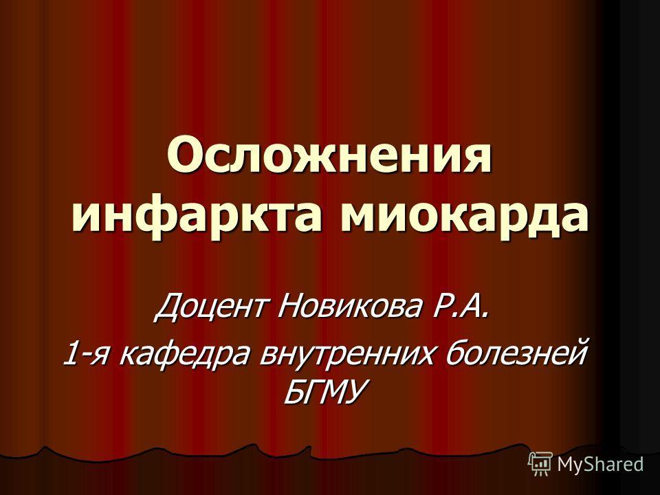 Осложнения инфаркта миокарда Доцент Новикова Р.А. 1-я кафедра внутренних болезней БГМУ