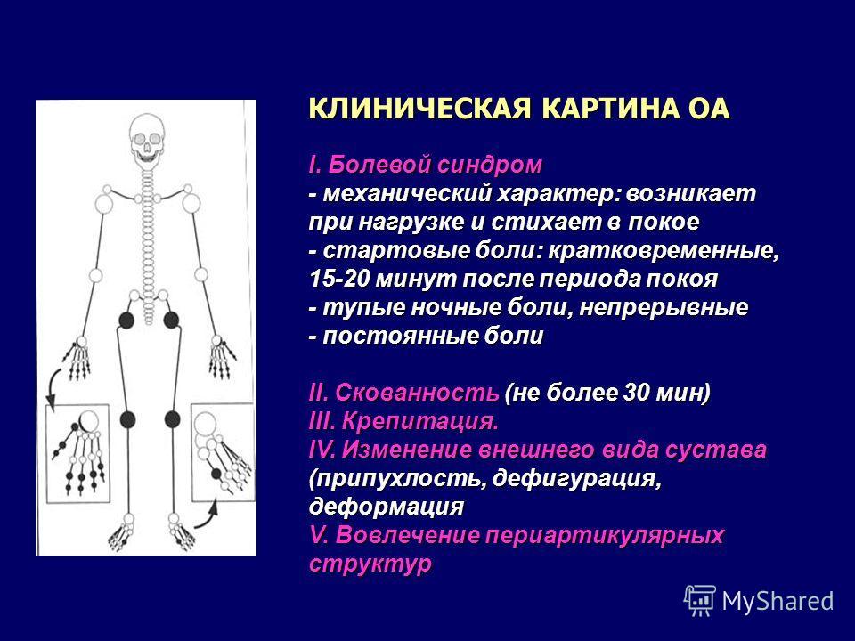 КЛИНИЧЕСКАЯ КАРТИНА ОА I. Болевой синдром - механический характер: возникает при нагрузке и стихает в покое - стартовые боли: кратковременные, 15-20 минут после периода покоя - тупые ночные боли, непрерывные - постоянные боли II. Скованность (не боле