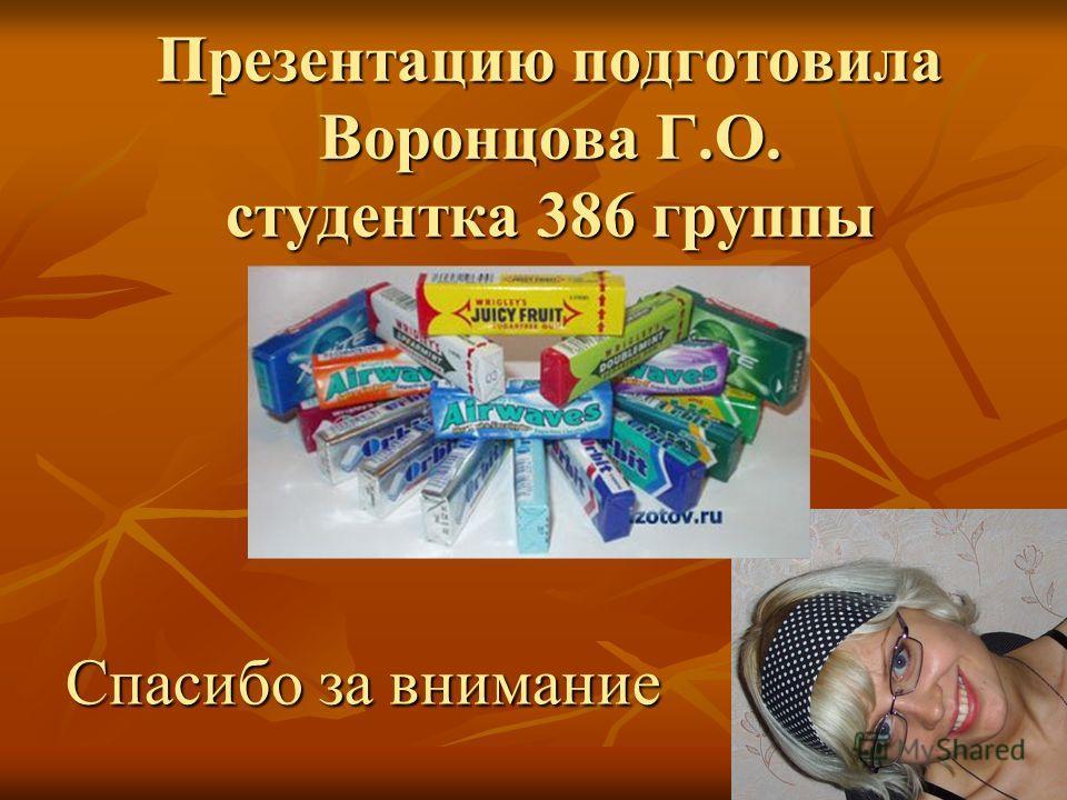 Презентацию подготовила Воронцова Г.О. студентка 386 группы Спасибо за внимание