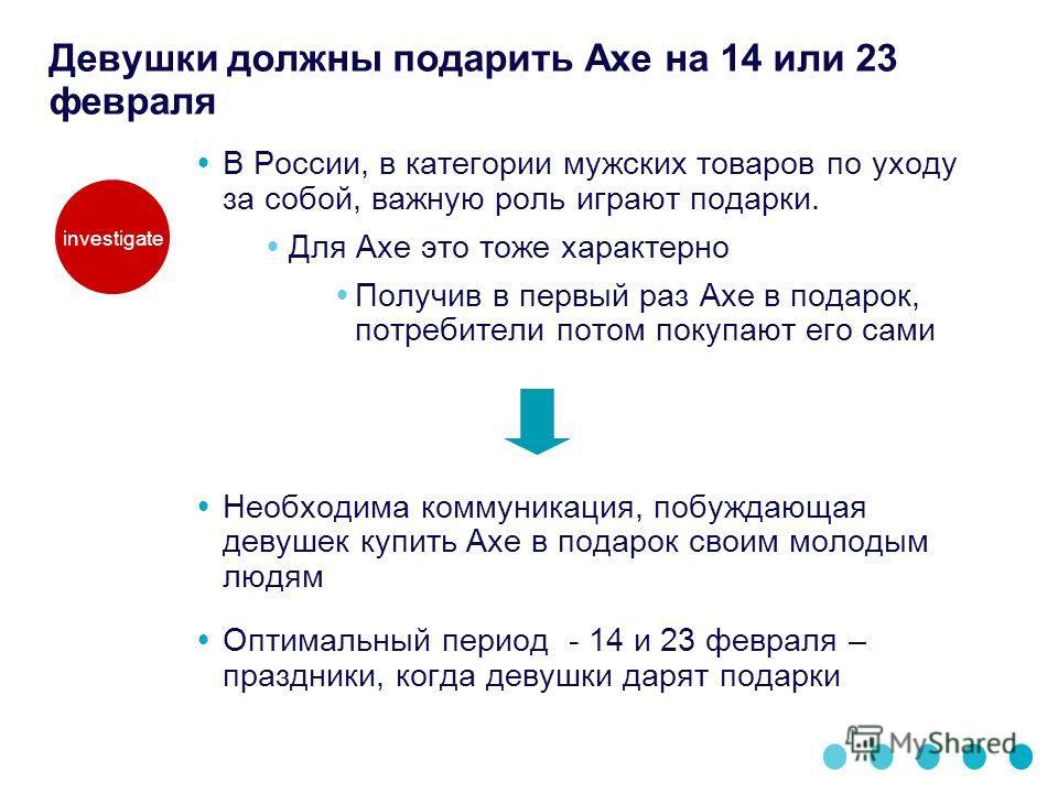 Девушки должны подарить Axe на 14 или 23 февраля В России, в категории мужских товаров по уходу за собой, важную роль играют подарки. Для Axe это тоже характерно Получив в первый раз Axe в подарок, потребители потом покупают его сами Необходима комму