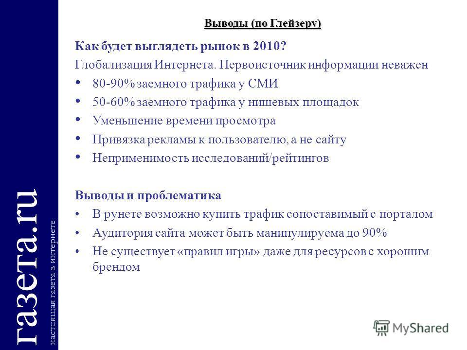 Выводы (по Глейзеру) газета.ru настоящая газета в интернете Как будет выглядеть рынок в 2010? Глобализация Интернета. Первоисточник информации неважен 80-90% заемного трафика у СМИ 50-60% заемного трафика у нишевых площадок Уменьшение времени просмот