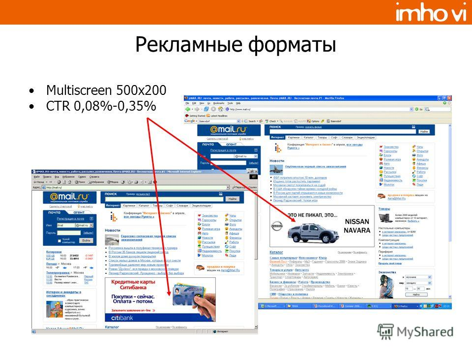 Рекламные форматы Multiscreen 500x200 CTR 0,08%-0,35%