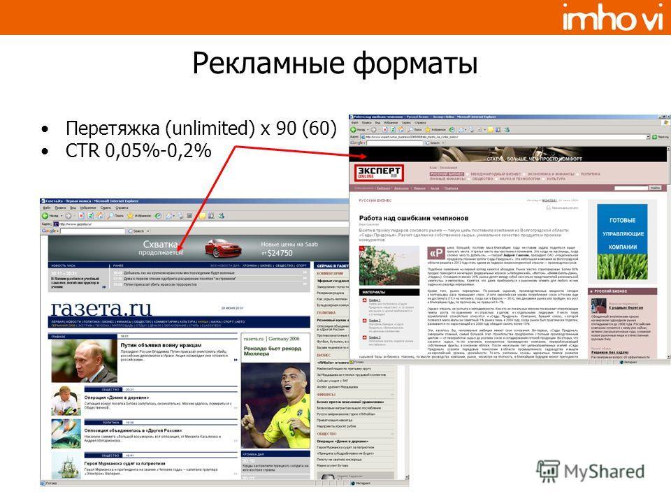 Рекламные форматы Перетяжка (unlimited) x 90 (60) CTR 0,05%-0,2%