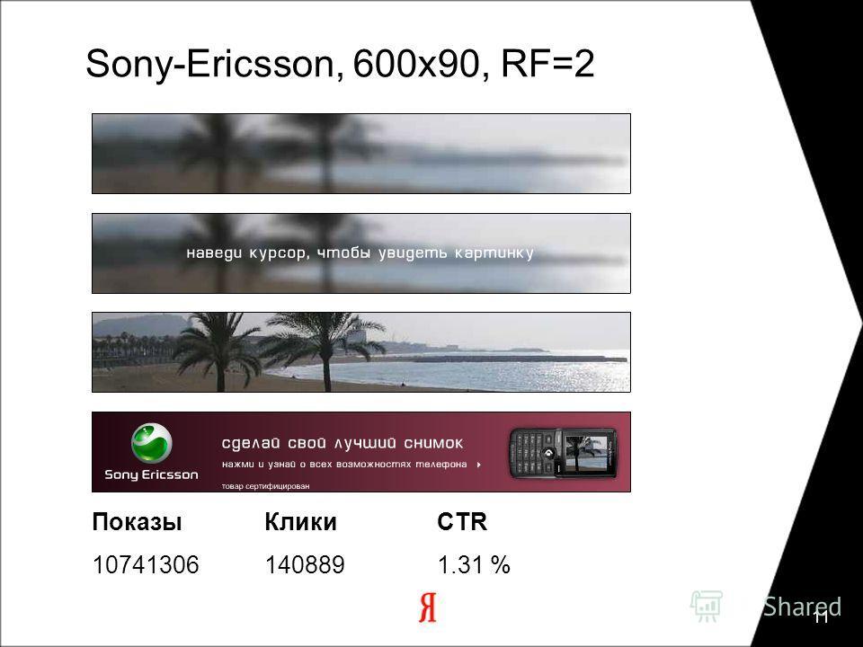 11 Sony-Ericsson, 600х90, RF=2 ПоказыКликиCTR 107413061408891.31 %