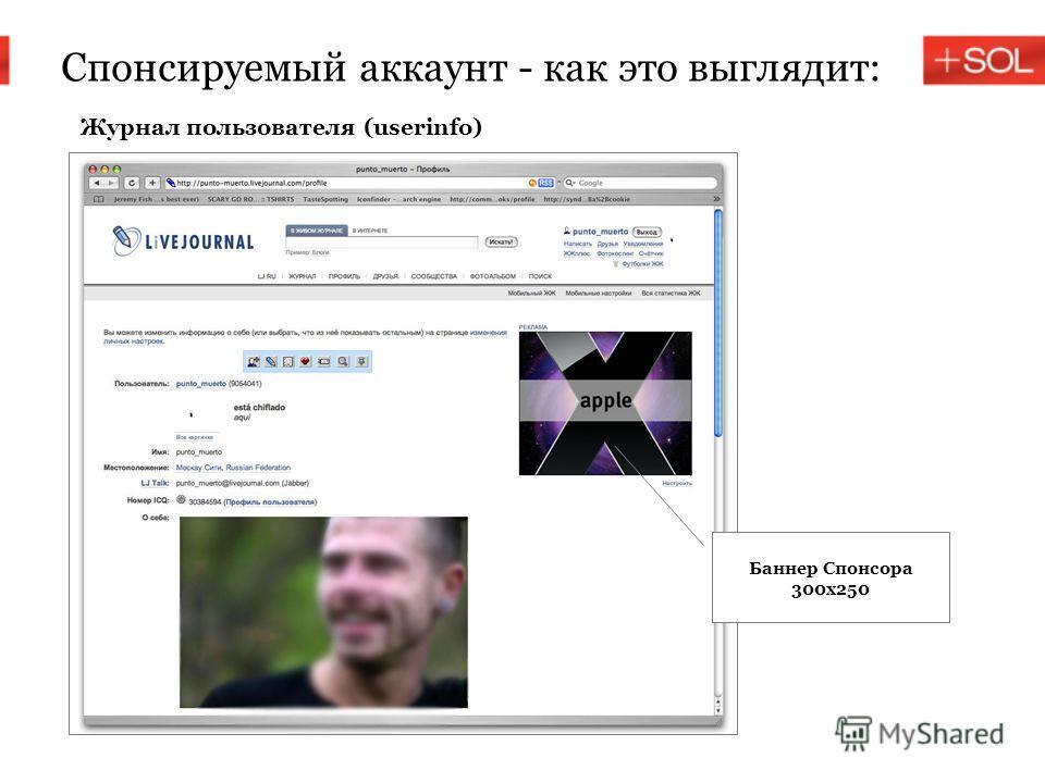 Спонсируемый аккаунт - как это выглядит: Баннер Спонсора 300х250 Журнал пользователя (userinfo)
