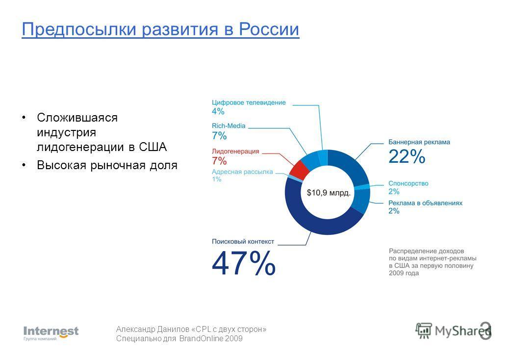 Александр Данилов «CPL с двух сторон» Специально для BrandOnline 2009 Сложившаяся индустрия лидогенерации в США Высокая рыночная доля 3 Предпосылки развития в России