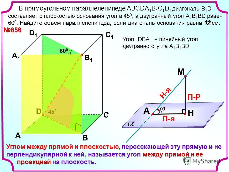 В прямоугольном параллелепипеде АВСDА 1 В 1 С 1 D 1 диагональ B 1 D составляет с плоскостью основания угол в 45 0, а двугранный угол А 1 В 1 ВD равен 60 0. Найдите объем параллелепипеда, если диагональ основания равна 12 см. 656 D А B С А1А1 D1D1 С1С