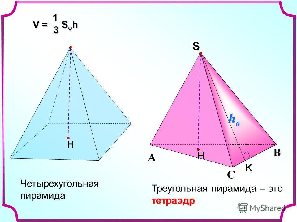 Треугольная пирамида – этотетраэдр С А В S S Четырехугольная пирамида Н Н V = S o h 13 K hahahaha