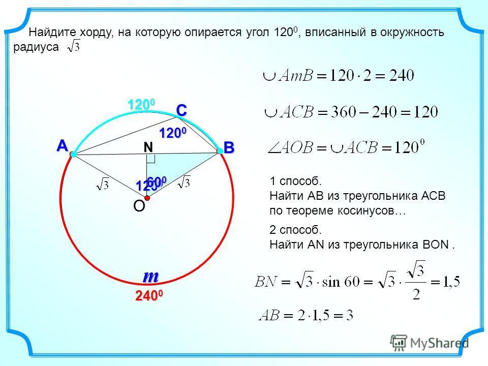 120 0 Найдите хорду, на которую опирается угол 120 0, вписанный в окружность радиуса О С А B 240 0 120 0 m 1 способ. Найти АВ из треугольника АСВ по теореме косинусов… 2 способ. Найти АN из треугольника ВON.N 60 0