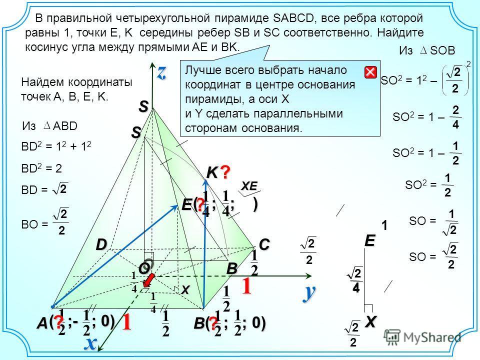 O S B A DC В правильной четырехугольной пирамиде SABCD, все ребра которой равны 1, точки E, K середины ребер SB и SC соответственно. Найдите косинус угла между прямыми AE и BK. yzx Найдем координаты точек A, B, E, K. 4 1 E 11 2 1 2 1 K 2 1 2 1 ( ;- ;