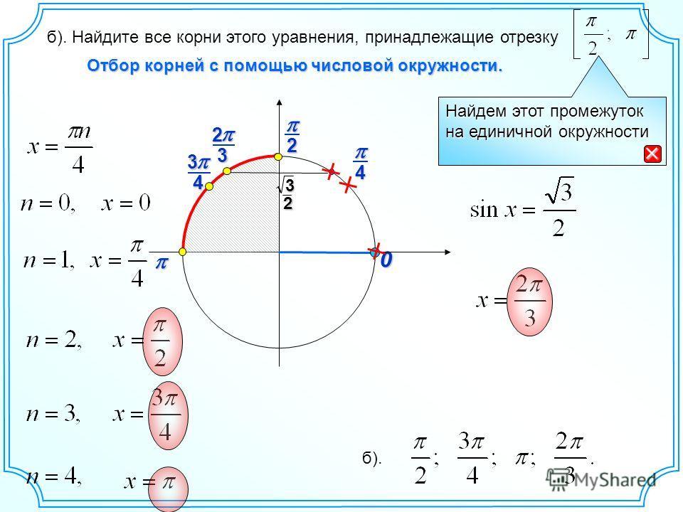 0 Найдем этот промежуток на единичной окружности 2 Отбор корней с помощью числовой окружности. б). Найдите все корни этого уравнения, принадлежащие отрезку 4 43 2 3 32 б).