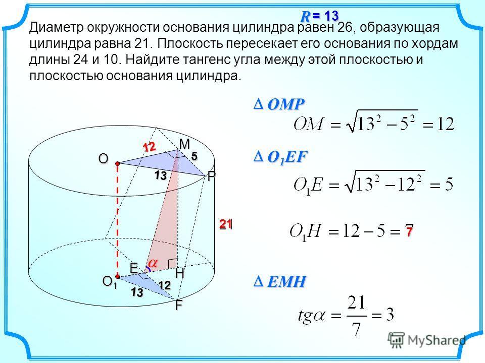 Диаметр окружности основания цилиндра равен 26, образующая цилиндра равна 21. Плоскость пересекает его основания по хордам длины 24 и 10. Найдите тангенс угла между этой плоскостью и плоскостью основания цилиндра. 2112 5 21 O O1O1O1O1 P 13 12 13ME F