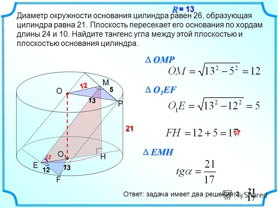 Диаметр окружности основания цилиндра равен 26, образующая цилиндра равна 21. Плоскость пересекает его основания по хордам длины 24 и 10. Найдите тангенс угла между этой плоскостью и плоскостью основания цилиндра. 2112 5 21 O O1O1O1O1 P 13 12 13EF OM