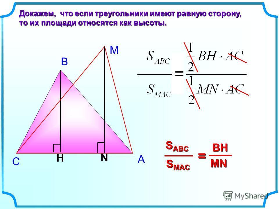 В С Докажем, что если треугольники имеют равную сторону, то их площади относятся как высоты. H S MAC S ABC = MN BH = М N A