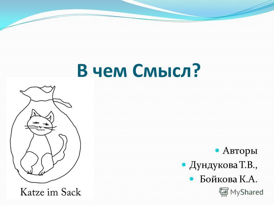 В чем Смысл? Авторы Дундукова Т.В., Бойкова К.А.
