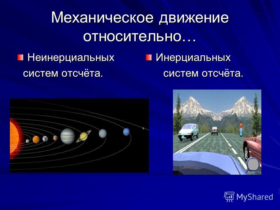 Механическое движение относительно… Неинерциальных систем отсчёта. систем отсчёта.Инерциальных х