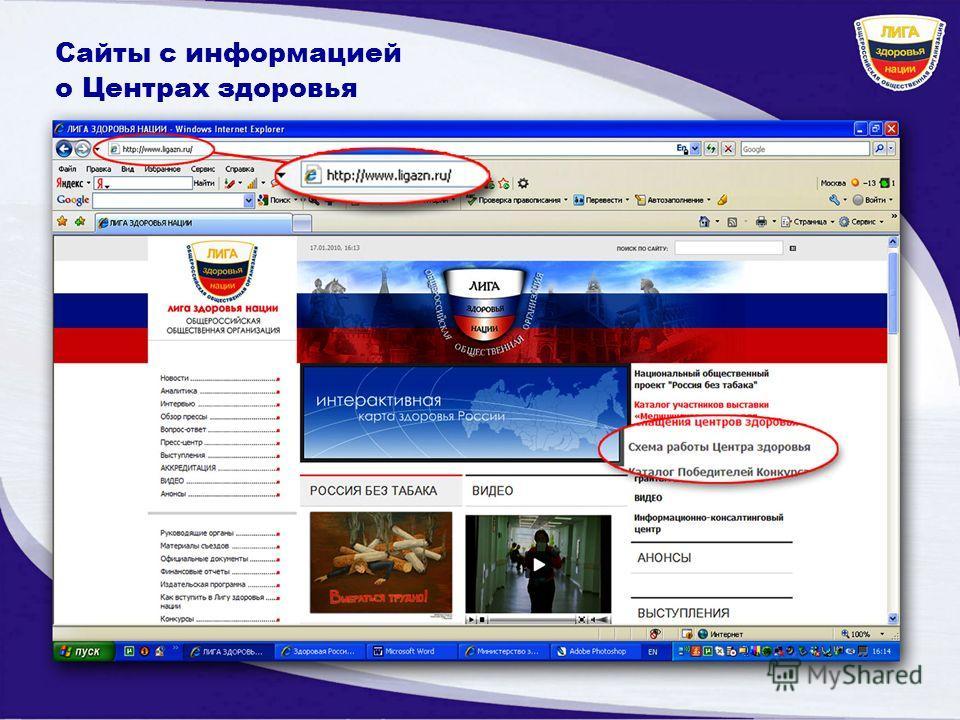 Сайты с информацией о Центрах здоровья