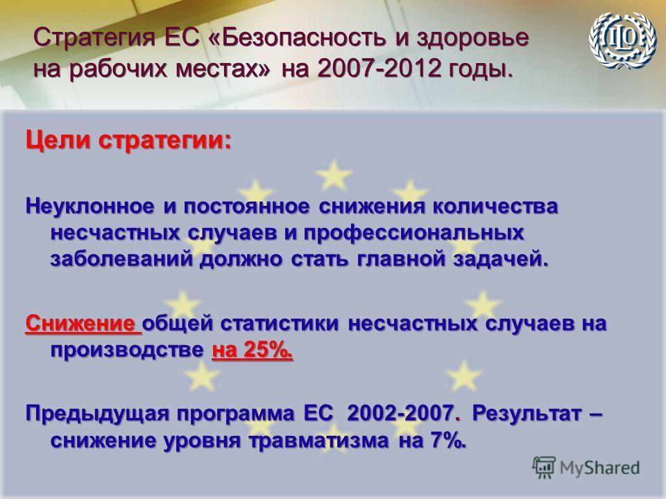 Стратегия ЕС «Безопасность и здоровье на рабочих местах» на 2007-2012 годы. Цели стратегии: Неуклонное и постоянное снижения количества несчастных случаев и профессиональных заболеваний должно стать главной задачей. Снижение общей статистики несчастн