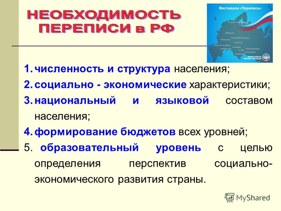 1.численность и структура населения; 2.социально - экономические характеристики; 3.национальный и языковой составом населения; 4.формирование бюджетов всех уровней; 5. образовательный уровень с целью определения перспектив социально- экономического р