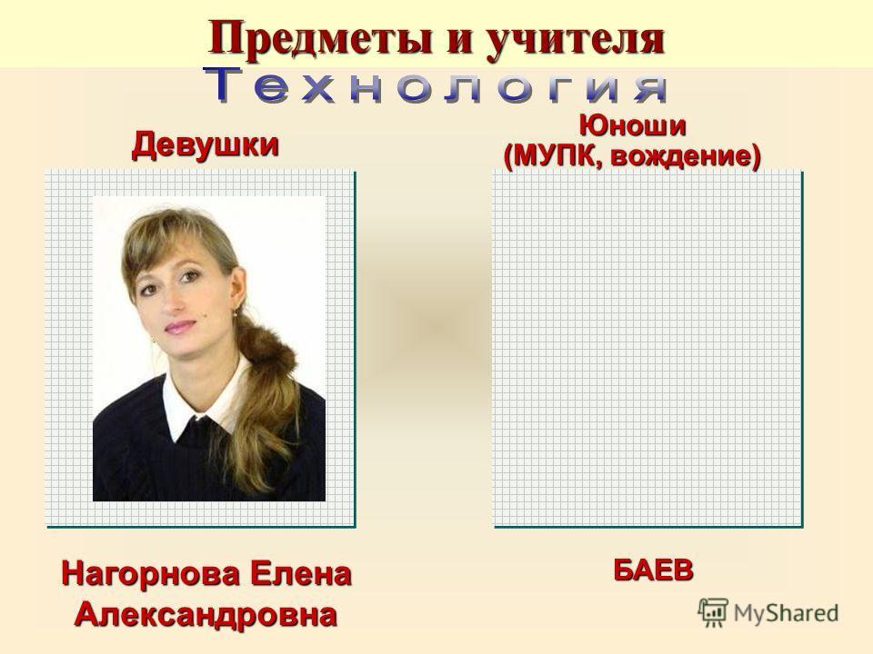 Нагорнова Елена Александровна БАЕВ Девушки Юноши (МУПК, вождение) Предметы и учителя