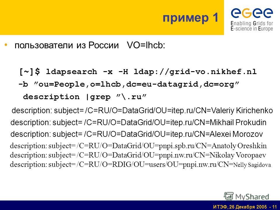 ИТЭФ, 26 Декабря 2005 - 11 пример 1 пользователи из России VO=lhcb: [~]$ ldapsearch -x -H ldap://grid-vo.nikhef.nl -b ou=People,o=lhcb,dc=eu-datagrid,dc=org description |grep \.ru description: subject= /C=RU/O=DataGrid/OU=itep.ru/CN=Valeriy Kirichenk