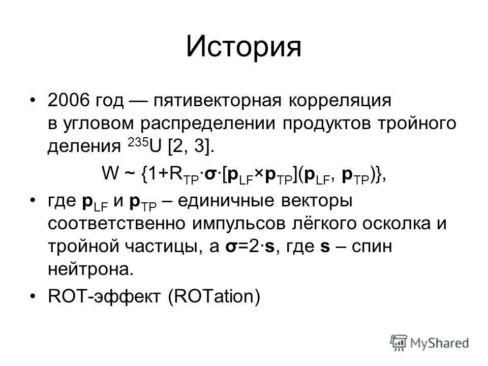 История 2006 год пятивекторная корреляция в угловом распределении продуктов тройного деления 235 U [2, 3]. W ~ {1+R TPσ[p LF ×p TP ](p LF, p TP )}, где p LF и p TP – единичные векторы соответственно импульсов лёгкого осколка и тройной частицы, а σ=2s