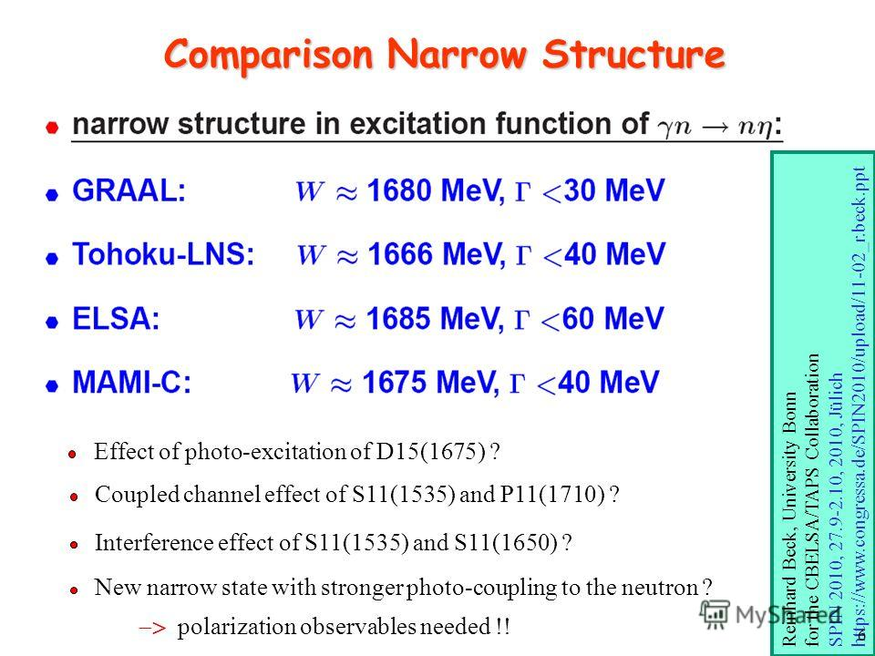 Comparison Narrow Structure Effect of photo-excitation of D15(1675) ? Coupled channel effect of S11(1535) and P11(1710) ? Interference effect of S11(1535) and S11(1650) ? New narrow state with stronger photo-coupling to the neutron ? polarization obs