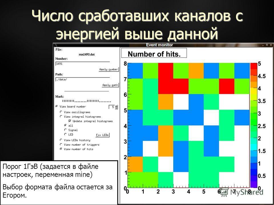 Число сработавших каналов с энергией выше данной Порог 1ГэВ (задается в файле настроек, переменная mine) Выбор формата файла остается за Егором.
