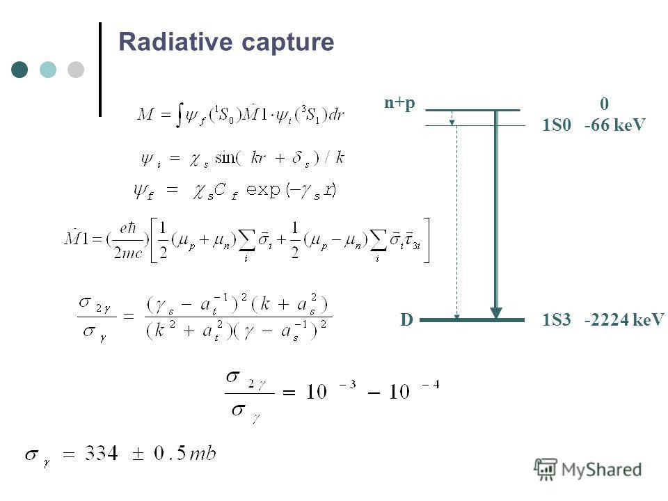 Radiative capture 1S0 1S3 n+p 0 -66 keV -2224 keVD