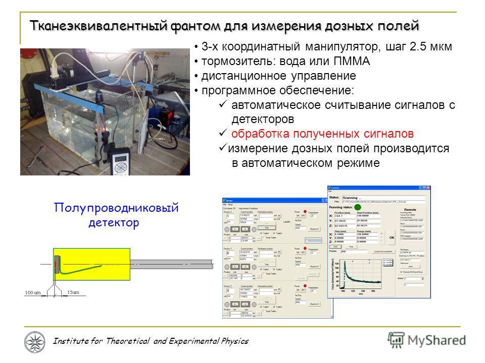 Institute for Theoretical and Experimental Physics Тканеэквивалентный фантом для измерения дозных полей 3-х координатный манипулятор, шаг 2.5 мкм тормозитель: вода или ПММА дистанционное управление программное обеспечение: автоматическое считывание с
