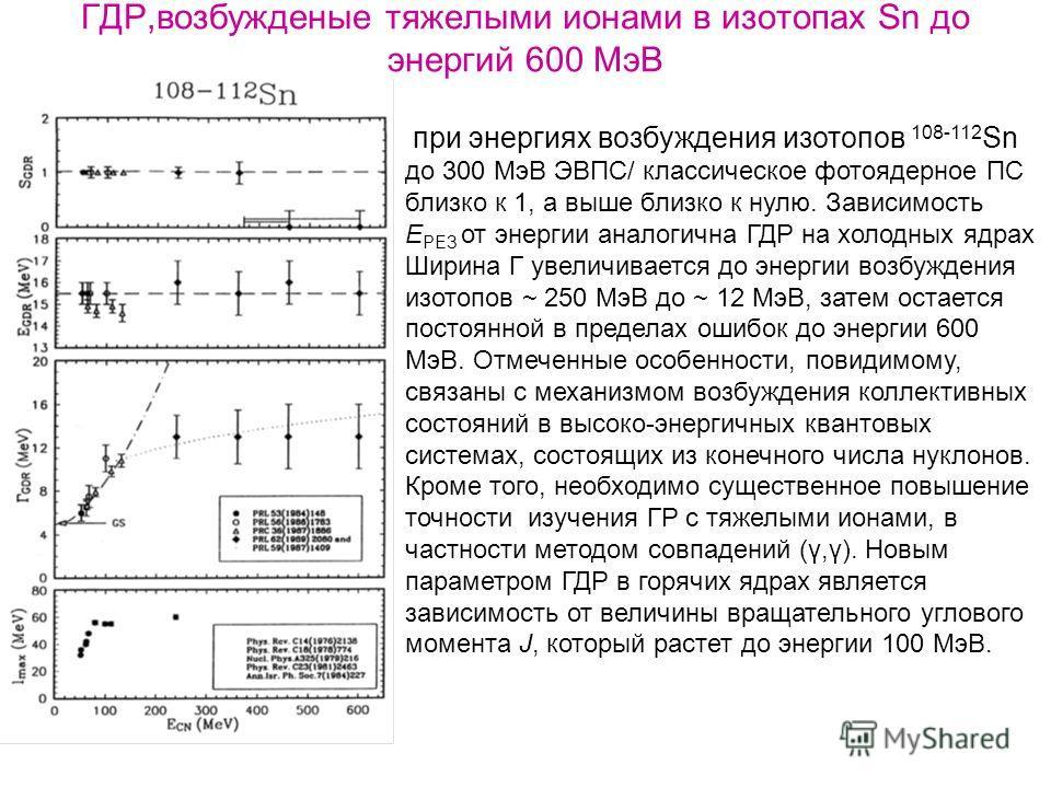 ГДР,возбужденые тяжелыми ионами в изотопах Sn до энергий 600 МэВ при энергиях возбуждения изотопов 108-112 Sn до 300 МэВ ЭВПС/ классическое фотоядерное ПС близко к 1, а выше близко к нулю. Зависимость Е РЕЗ от энергии аналогична ГДР на холодных ядрах