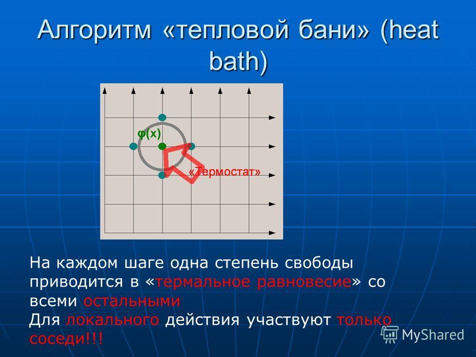 Алгоритм «тепловой бани» (heat bath) На каждом шаге одна степень свободы приводится в «термальное равновесие» со всеми остальными Для локального действия участвуют только соседи!!!