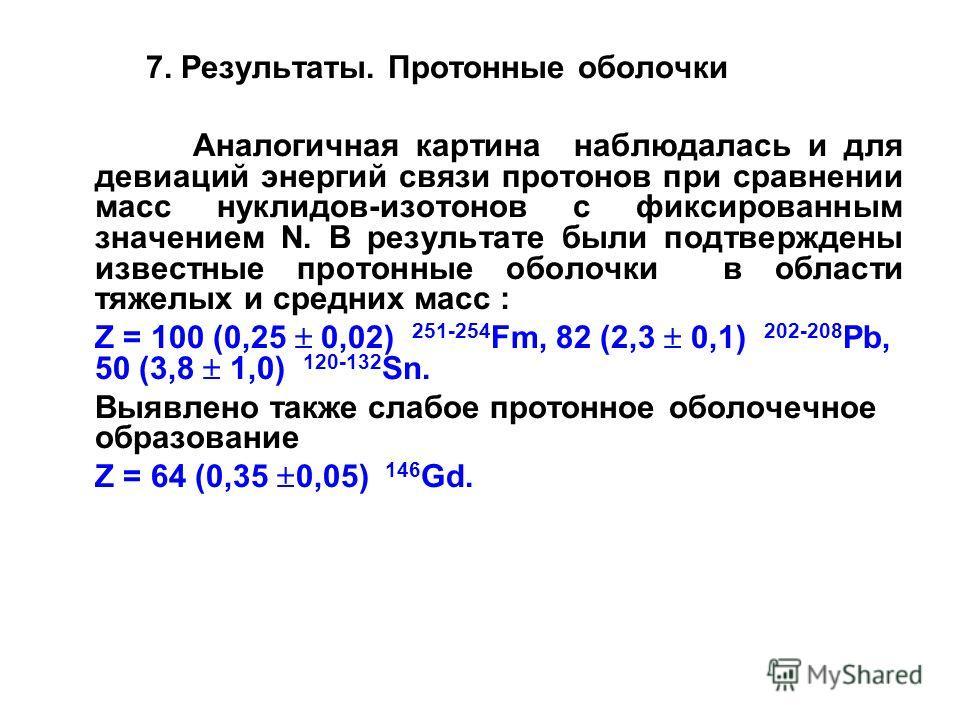 7. Результаты. Протонные оболочки Аналогичная картина наблюдалась и для девиаций энергий связи протонов при сравнении масс нуклидов-изотонов с фиксированным значением N. В результате были подтверждены известные протонные оболочки в области тяжелых и