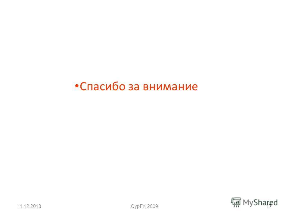 11.12.2013СурГУ, 2009 17 Спасибо за внимание