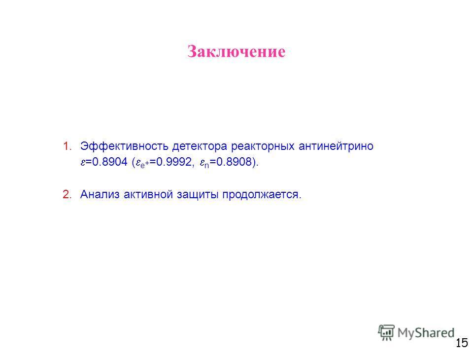 15 Заключение 1.Эффективность детектора реакторных антинейтрино =0.8904 ( e + =0.9992, n =0.8908). 2.Анализ активной защиты продолжается.