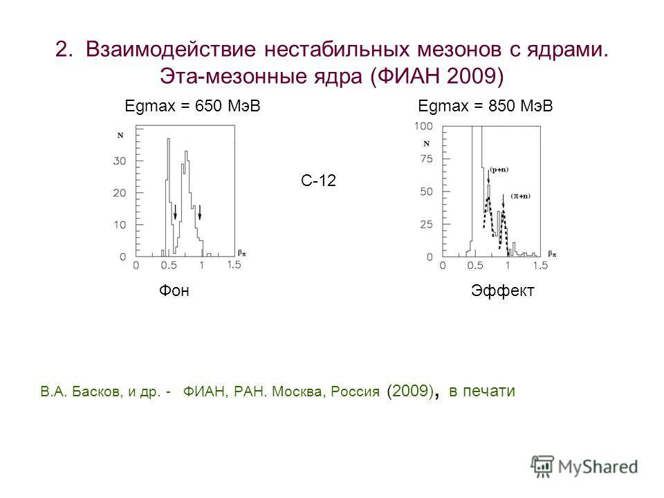 2. Взаимодействие нестабильных мезонов с ядрами. Эта-мезонные ядра (ФИАН 2009) В.А. Басков, и др. - ФИАН, РАН. Москва, Россия (2009), в печати Egmax = 650 МэВ Egmax = 850 МэВ Фон Эффект С-12
