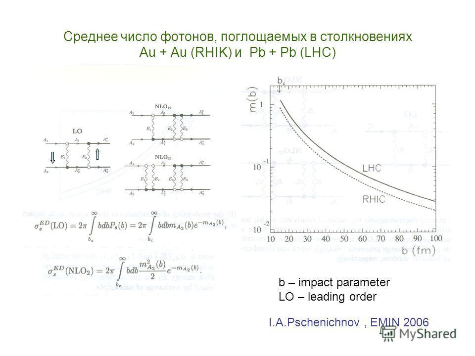Среднее число фотонов, поглощаемых в столкновениях Au + Au (RHIK) и Pb + Pb (LHC) b – impact parameter LO – leading order I.A.Pschenichnov, EMIN 2006