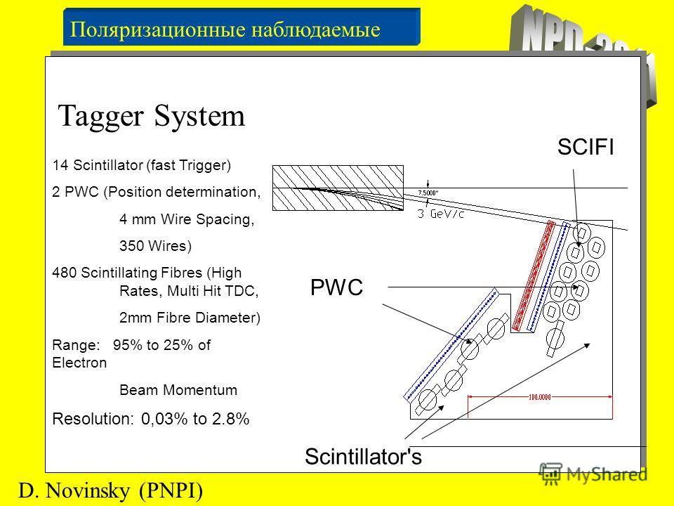 Поляризационные наблюдаемые D. Novinsky (PNPI) Для этого проводятся измерения сечений при двух направлениях поляризации мишени и находится отношение: Tagger System 14 Scintillator (fast Trigger) 2 PWC (Position determination, 4 mm Wire Spacing, 350 W