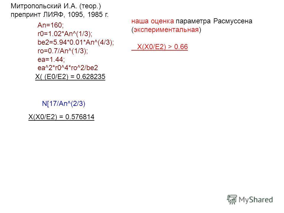 X( (E0/E2) = 0.628235 N[17/An^(2/3) X(X0/E2) = 0.576814 An=160; r0=1.02*An^(1/3); be2=5.94*0.01*An^(4/3); ro=0.7/An^(1/3); ea=1.44; ea^2*r0^4*ro^2/be2 Митропольский И.А. (теор.) препринт ЛИЯФ, 1095, 1985 г. наша оценка параметра Расмуссена (экспериме