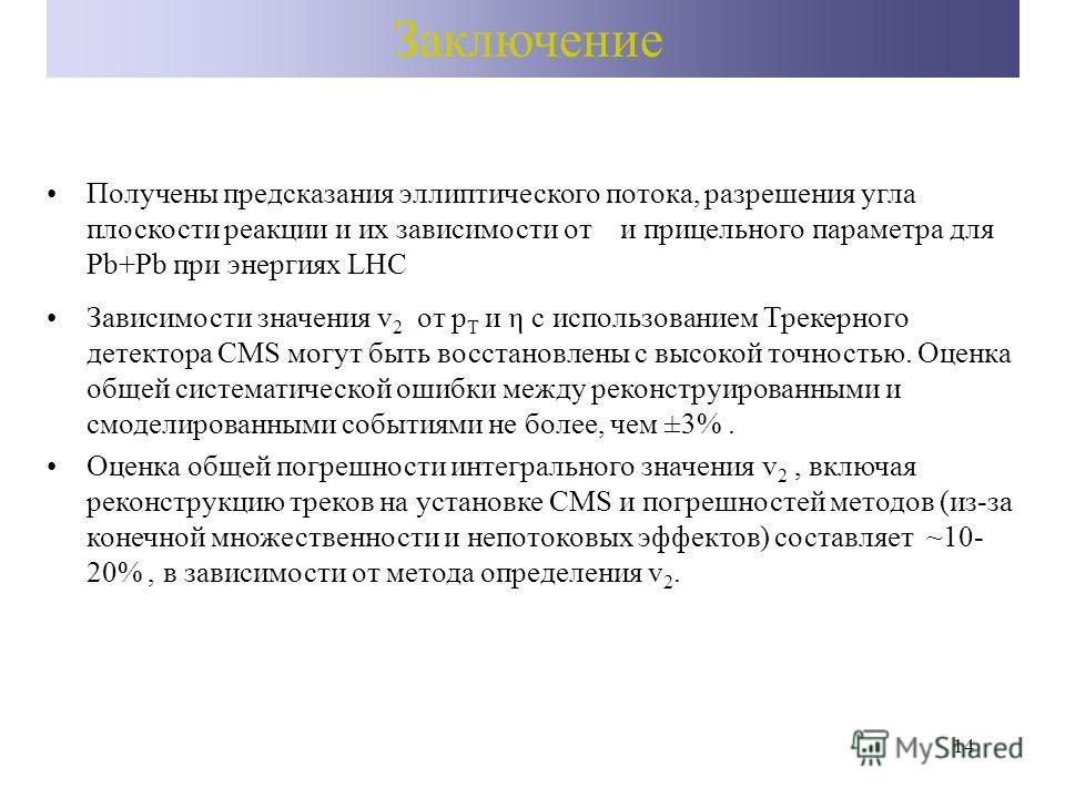 14 Заключение Получены предсказания эллиптического потока, разрешения угла плоскости реакции и их зависимости от и прицельного параметра для Pb+Pb при энергиях LHC Зависимости значения v 2 от p T и η с использованием Трекерного детектора CMS могут бы