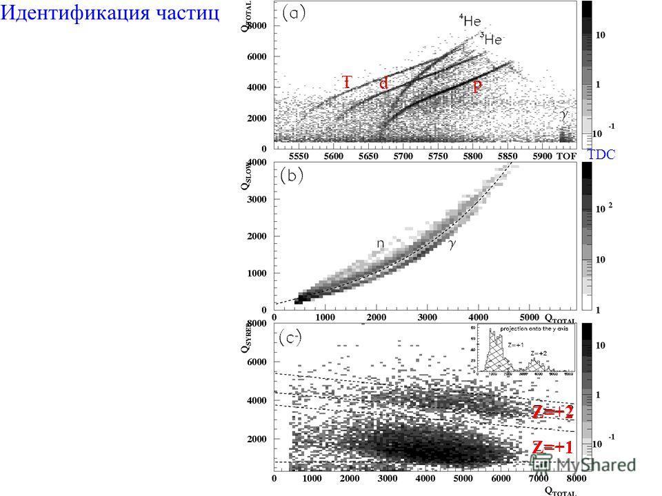Идентификация частиц p d T Z=+2 Z=+1 TDC