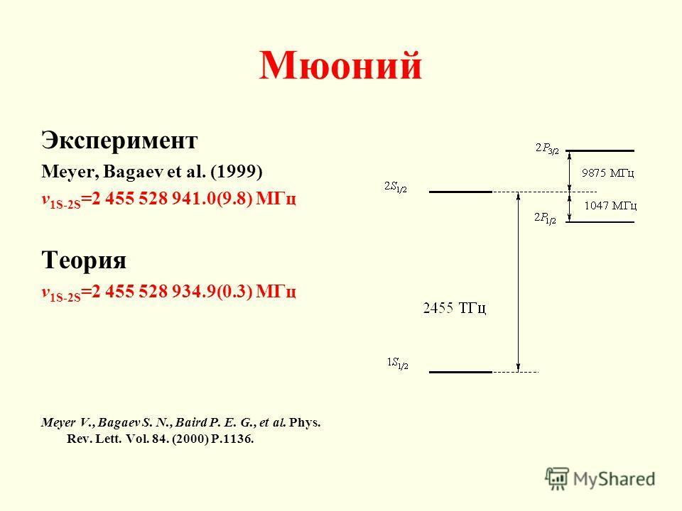 Мюоний Эксперимент Meyer, Bagaev et al. (1999) v 1S-2S =2 455 528 941.0(9.8) МГц Теория v 1S-2S =2 455 528 934.9(0.3) МГц Meyer V., Bagaev S. N., Baird P. E. G., et al. Phys. Rev. Lett. Vol. 84. (2000) P.1136.