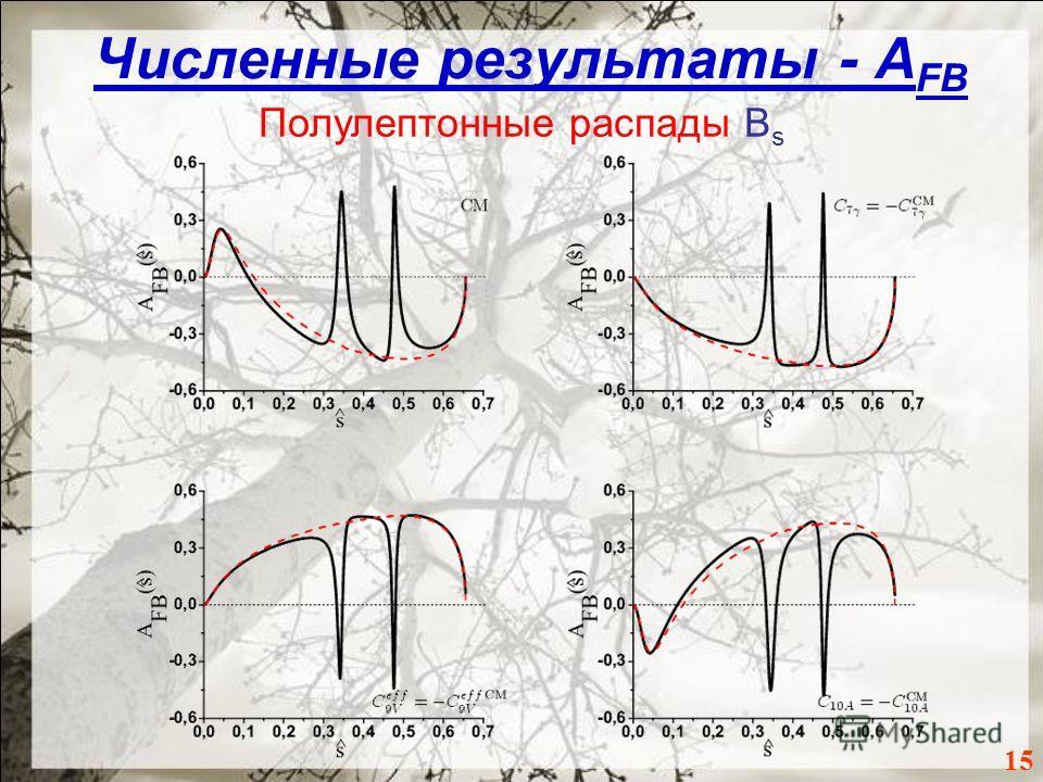 Численные результаты - A FB 1515 Полулептонные распады B s