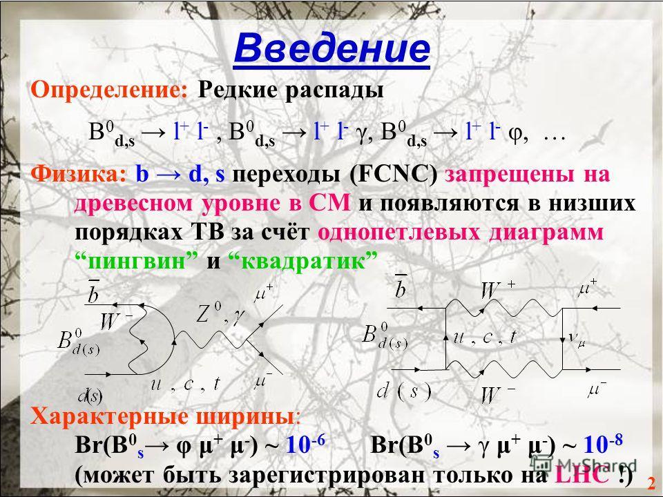 Введение Определение: Редкие распады B 0 d,s l + l -, B 0 d,s l + l - γ, B 0 d,s l + l - φ, … Физика: b d, s переходы (FCNC) запрещены на древесном уровне в СМ и появляются в низших порядках ТВ за счёт однопетлевых диаграммпингвин и квадратик Характе