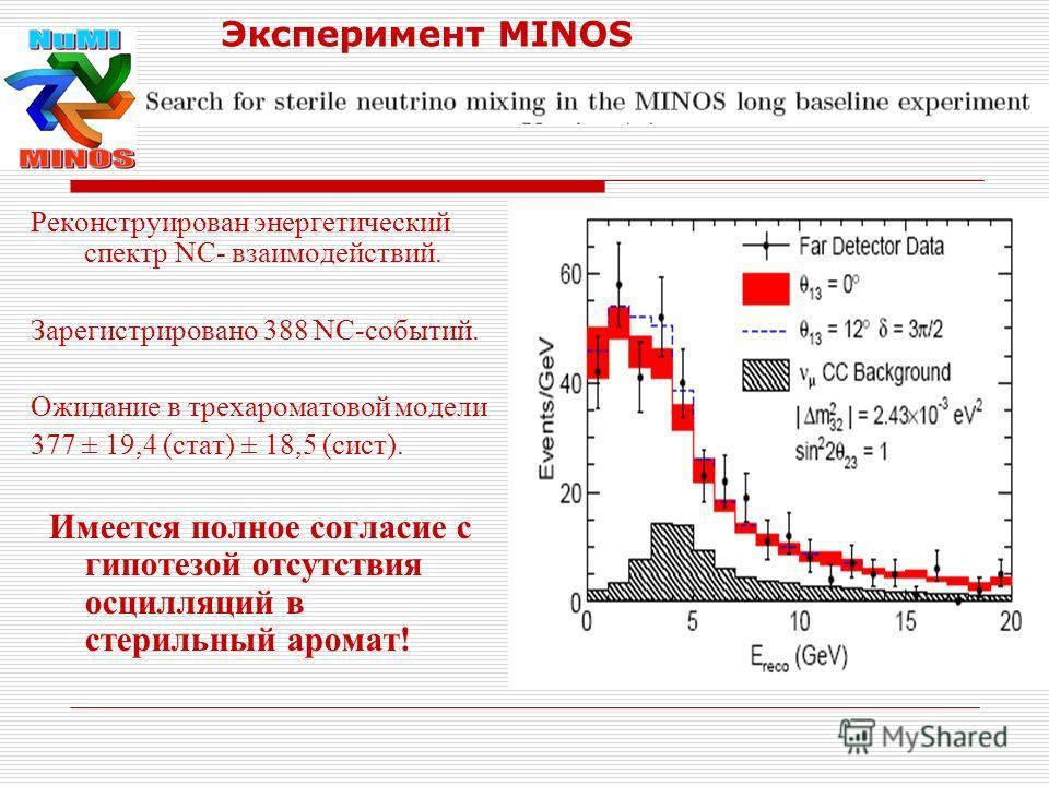 Эксперимент MINOS Реконструирован энергетический спектр NC- взаимодействий. Зарегистрировано 388 NC-событий. Ожидание в трехароматовой модели 377 ± 19,4 (стат) ± 18,5 (сист). Имеется полное согласие с гипотезой отсутствия осцилляций в стерильный аром
