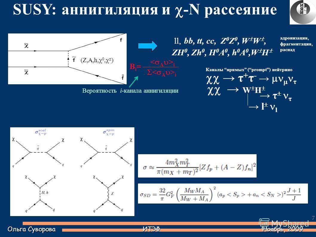 7 Каналы прямых (prompt) нейтрино τ + τ - τ W H τ τ ll, bb, tt, cc, Z 0 Z 0, W W, ZH 0, Zh 0, H 0 A 0, h 0 A 0,W H l l (Z,A,h, 0, ) Ольга Суворова ИТЭФ Ноябрь, 2009 SUSY: аннигиляция и -N рассеяние i Bi=Bi= адронизация, фрагментация, распад Вероятнос