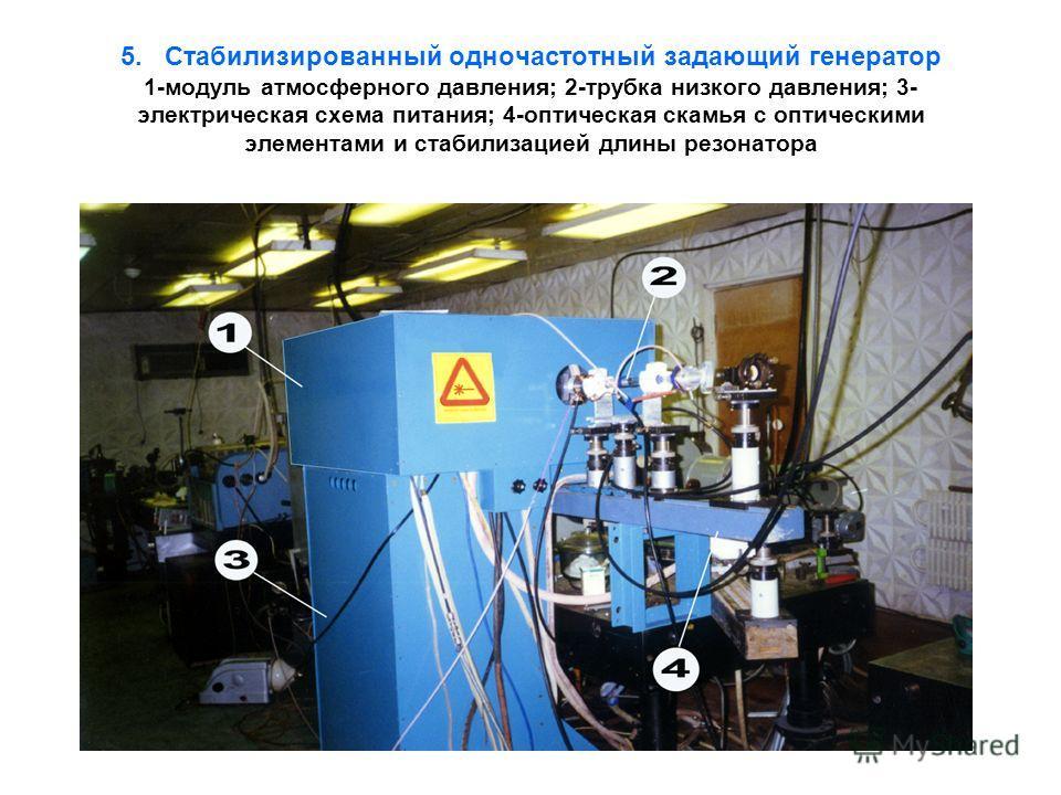 5. Стабилизированный одночастотный задающий генератор 1-модуль атмосферного давления; 2-трубка низкого давления; 3- электрическая схема питания; 4-оптическая скамья с оптическими элементами и стабилизацией длины резонатора