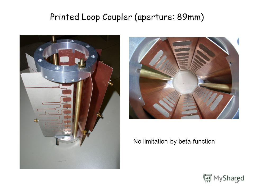29 Printed Loop Coupler (aperture: 89mm) No limitation by beta-function