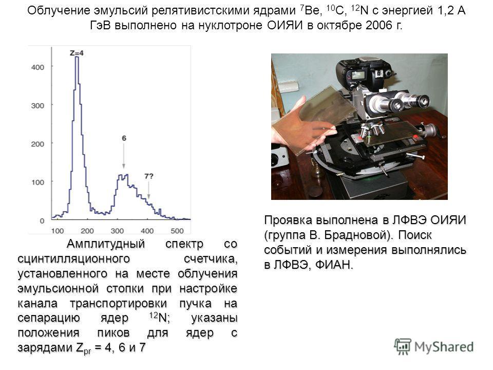Облучение эмульсий релятивистскими ядрами 7 Be, 10 C, 12 N с энергией 1,2 А ГэВ выполнено на нуклотроне ОИЯИ в октябре 2006 г. Амплитудный спектр со сцинтилляционного счетчика, установленного на месте облучения эмульсионной стопки при настройке канал