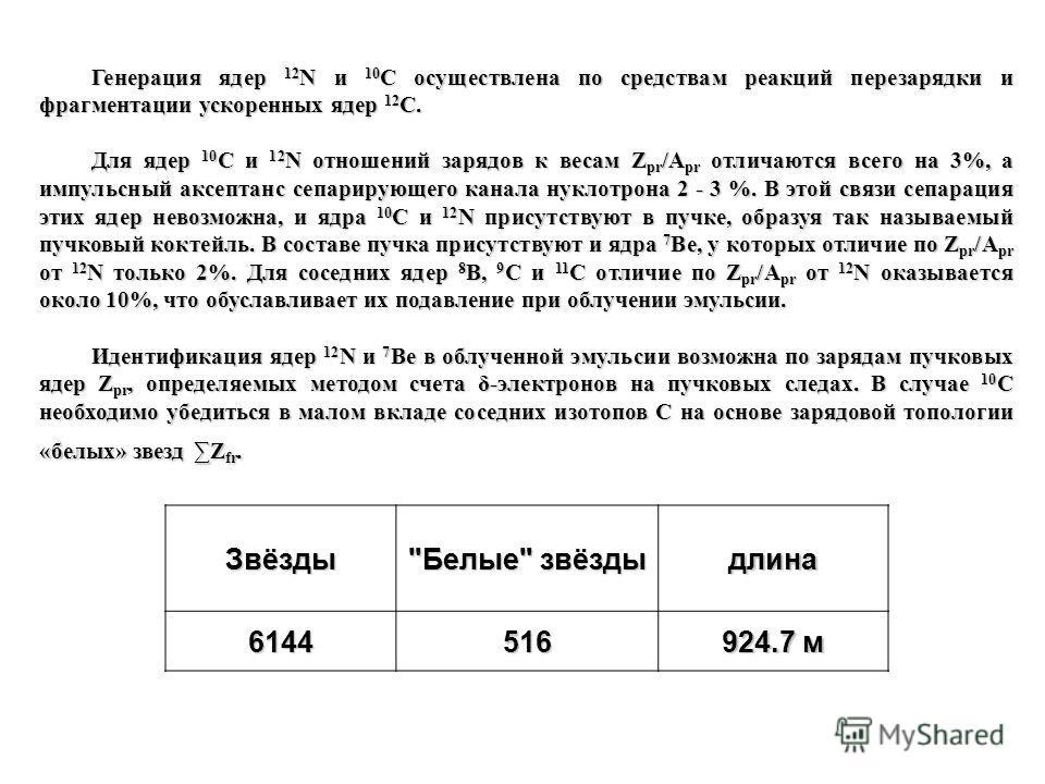 Генерация ядер 12 N и 10 C осуществлена по средствам реакций перезарядки и фрагментации ускоренных ядер 12 C. Для ядер 10 C и 12 N отношений зарядов к весам Z pr /A pr отличаются всего на 3%, а импульсный аксептанс сепарирующего канала нуклотрона 2 -